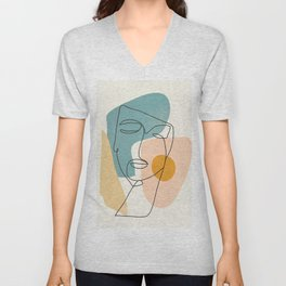 Abstract Face 25 Unisex V-Neck