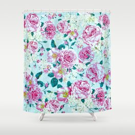 Vintage modern pink green teal watercolor floral Shower Curtain