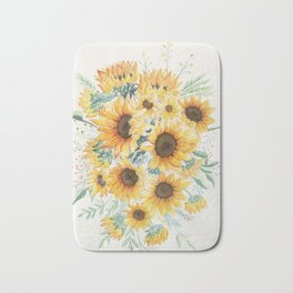 Loose Watercolor Sunflowers Bath Mat