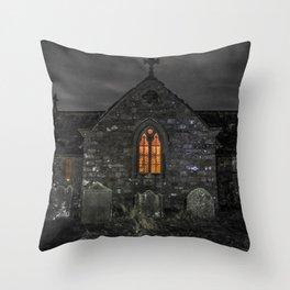 Haunting church at night Throw Pillow
