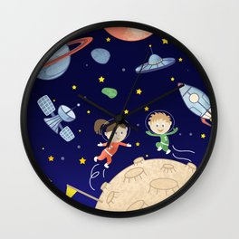 Space kids astronauts planets asteroids and spaceships Wall Clock