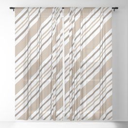 Pantone Hazelnut Nutmeg and White Thick and Thin Angled Lines - Stripes Sheer Curtain