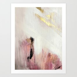 Sunrise [2]: a bright, colorful abstract piece in pink, gold, black,and white Kunstdrucke