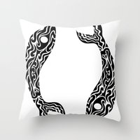 pisces Throw Pillows featuring Pisces by Mario Sayavedra