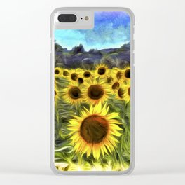 Sunflower Fields Of Summer Van Goth Clear iPhone Case