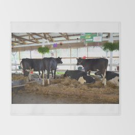 Black and white cow 2 Throw Blanket