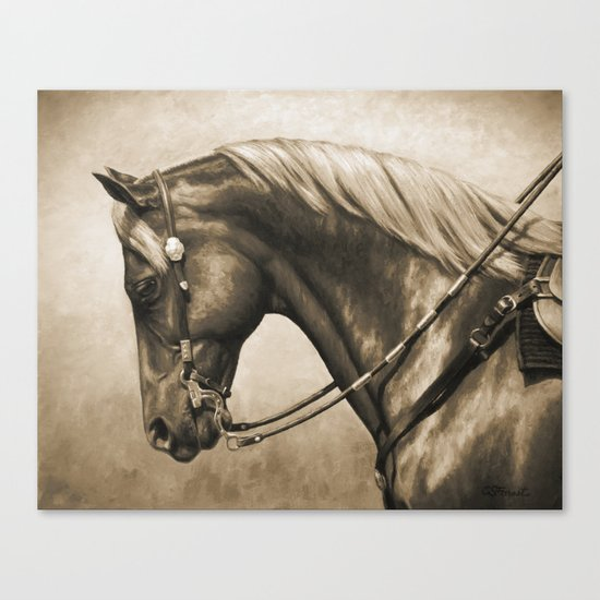 Western Quarter Horse Old Photo Effect Canvas Print
