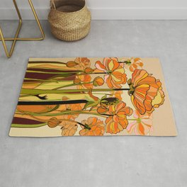 Orange California poppies, mid century, 70s retro, flowers Rug