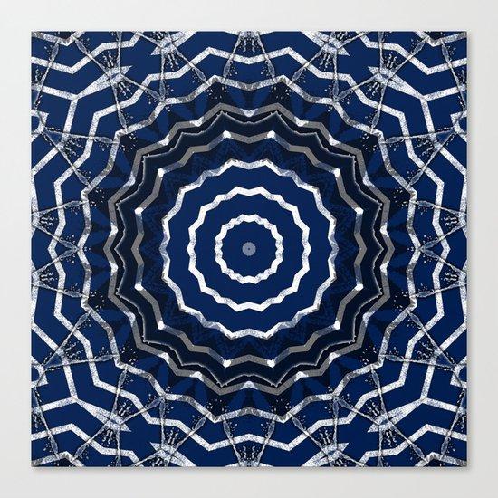 Blue stripes on white grunge textured kaleidoscope Canvas Print