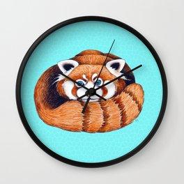 Cute Red Panda Bear On Turquoise Wall Clock