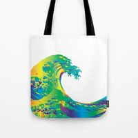 hokusai Tote Bags featuring Hokusai Rainbow_A by FACTORIE