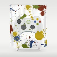 xbox Shower Curtains featuring Controller Graffitti XBOX by AngoldArts
