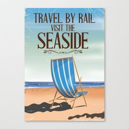 Vintage Rail poster to the seaside. Canvas Print