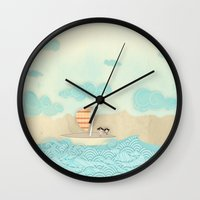 pirate ship Wall Clocks featuring pirate ship...  by studiomarshallarts