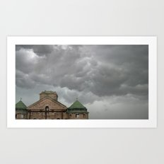 Church remains in a stormy sky. Art Print