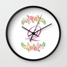 Floral Initial Letter Q Wall Clock