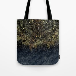 Stylish Gold floral mandala and confetti Tote Bag