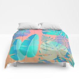 Tropics ( monstera and banana leaf pattern ) Comforters