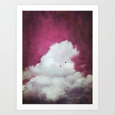 the cloud - bright red sky version Art Print