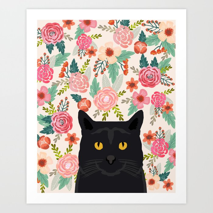 Black Cat florals spring summer animal portrait pet friendly cat lady gifts for her or him cute cats Art Print