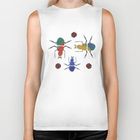 insects Biker Tanks featuring playful insects by Lydia Coventry