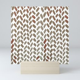 Cute watercolor knitting pattern -  brown and sap green Mini Art Print