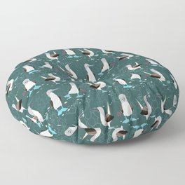 Blue-footed booby birds pattern Floor Pillow
