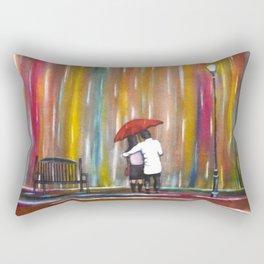 Love in the Rain romantic painting by Manjiri Kanvinde Rectangular Pillow
