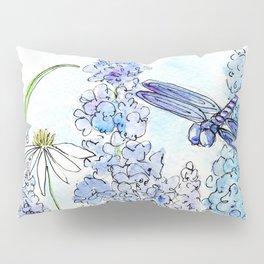 Watercolor Wildflower Garden Dragonfly Blue Flowers Daisies Pillow Sham