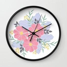 Vintage Pink Flowers Wall Clock