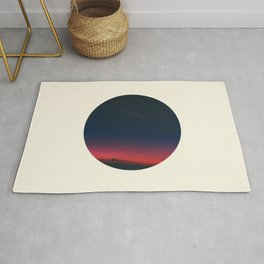 Pink Purple & Navy blue Sunset With Shooting Star Rug