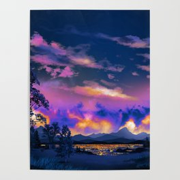 Night Sky Sunset Poster