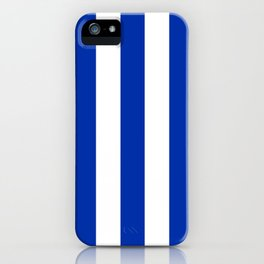 International Klein Blue - solid color - white vertical lines pattern iPhone Case