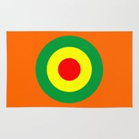 reggae Area & Throw Rugs featuring Rasta Reggae Dub Roundel by artberry