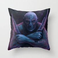 thanos Throw Pillows featuring Drax and Thanos by Jaime Gervais