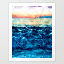 Sea And Sunset Art Print