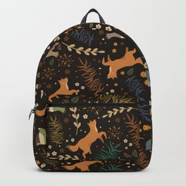 Autumn Woodsy Floral Forest Pattern With Foxes And Birds Backpack