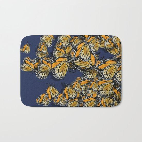 Butterfly Frenzy Spring Navy Bath Mat