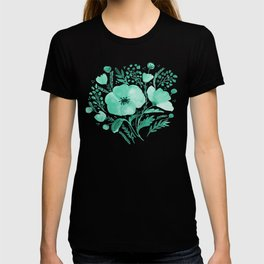 Flower bouquet with poppies - aqua T-shirt