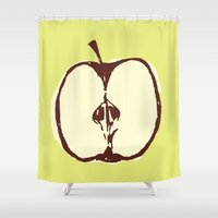 apple Shower Curtains featuring apple by Marzipan