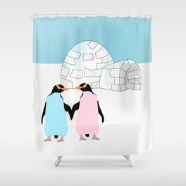Penguins and Igloo Shower Curtain