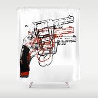 guns Shower Curtains featuring Triple Guns by Sammie English
