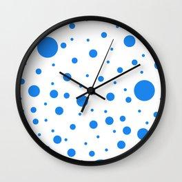 Mixed Polka Dots - Dodger Blue on White Wall Clock