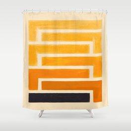 Yellow Ocher Mid Century Pattern Shower Curtain
