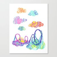 coasters Canvas Prints featuring We'll see you in style, riding rainbow roller-coasters in the sky. by Jenny Robins