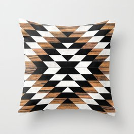 Urban Tribal Pattern No.13 - Aztec - Concrete and Wood Throw Pillow