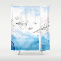 engineer Shower Curtains featuring The Dreaming Engineer IIa by Vivian TAN Ai Hua
