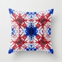 tie dye ancient resist-dyeing techniques Indigo blue red textile Throw Pillow