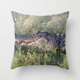 Alligator sunning in grass Throw Pillow