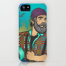 Hipster Lumberjack Blue iPhone Case